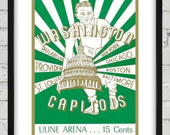 1947- 1948 Vintage Washington Capitols Basketball Program Cover - Digital Reproduction - Print or Matted or Framed
