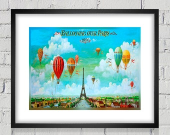 1890 Vintage Ballooning over Paris Travel Poster - Digital Reproduction - Print or Matted or Framed