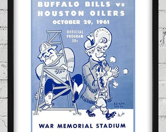 1961 Vintage Houston Oilers - Buffalo Bills Football Program Cover - Digital Reproduction - Print or Matted or Framed