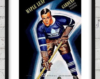 1940-1941 Vintage Toronto Maple Leafs Hockey Program Cover - Digital Reproduction - Print or Matted or Framed
