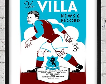 1949 Vintage  Aston Villa - Manchester United English Football Program Cover - Digital Reproduction - Print or Matted or Framed