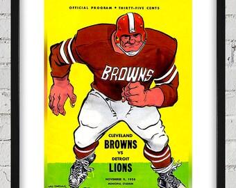 1958 Vintage Detroit Lions - Cleveland Browns Football Program Cover - Digital Reproduction - Print or Matted or Framed