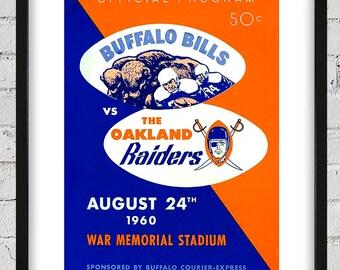 1960 Vintage Oakland Raiders-Buffalo Bills Football Program Cover - Digital Reproduction - Print or Matted or Framed