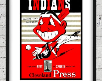 1950 Vintage Cleveland Indians Scorebook Cover - Digital Reproduction - Print or Matted or Framed