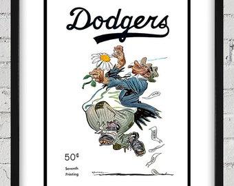 1951 Vintage Brooklyn Dodgers Bum Program Cover - Digital Reproduction - Print or Matted or Framed