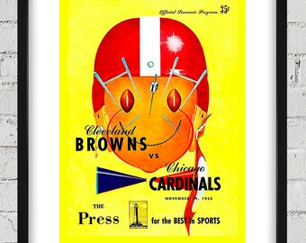 1953 Vintage Chicago Cardinals - Cleveland Browns Football Program Cover - Digital Reproduction - Print or Matted or Framed