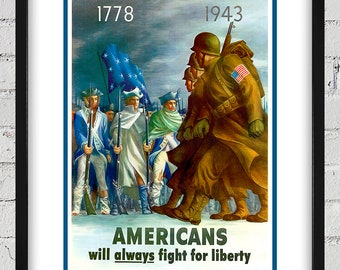 1943 Vintage World War II Poster - Americans will always fight for liberty - Digital Reproduction - Print or Matted or Framed