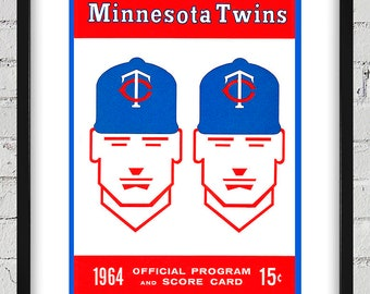 1964 Vintage Minnesota Twins Program Cover - Digital Reproduction - Print or Matted or Framed