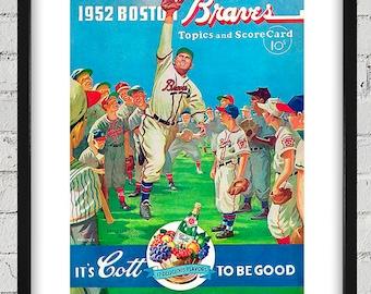 1952 Vintage Boston Braves Scorecard Cover