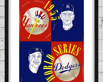 1955 Vintage New York Yankees - Brooklyn Dodgers World Series Program Cover - Digital Reproduction - Print or Matted or Framed