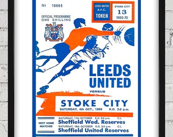 1969 Vintage  Stroke City - Leeds United English Football Program Cover - Digital Reproduction - Print or Matted or Framed