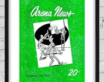 1948 - 1949 Vintage Philadelphia Warriors Basketball Program Cover - Digital Reproduction - Print or Matted or Framed