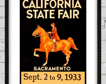 1933 Vintage California State Fair Poster - Digital Reproduction - Print or Matted or Framed