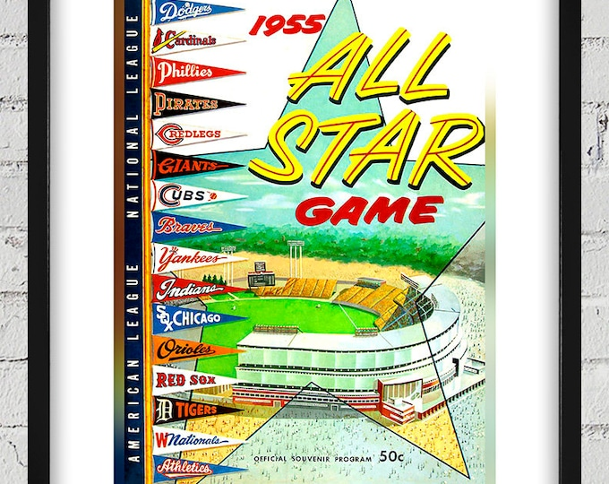 Featured listing image: 1955 Vintage All-Star Game Program - Milwaukee County Stadium - Digital Reproduction - Print or Matted or Framed