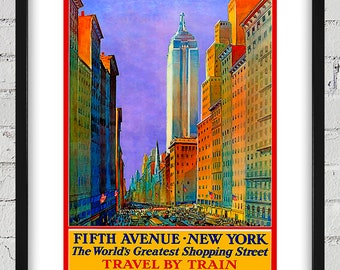 1932 Vintage Fifth Avenue - New York - Travel by Train Poster - Digital Reproduction - Print or Matted or Framed