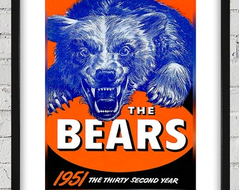 1951 Vintage Chicago Bears Football Media Guide Cover - Digital Reproduction - Print or Matted or Framed