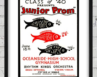 1940 Vintage WPA Poster - Junior Prom - Digital Reproduction - Print or Matted or Framed
