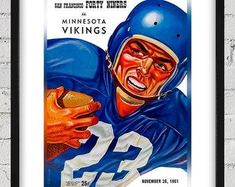1961 Vintage San Francisco 49ers - Minnesota Vikings Football Program Cover - Digital Reproduction - Print or Matted or Framed