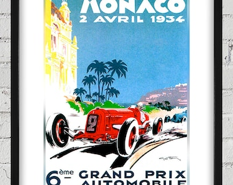 1934 Vintage Monaco Racing Poster - Digital Reproduction - Print or Matted or Framed