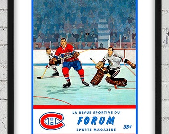 1962-1963 Vintage Montreal Canadiens Hockey Program Cover - Digital Reproduction - Print or Matted or Framed