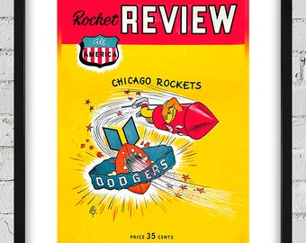 1948 Vintage Brooklyn Dodgers - Chicago Rockets Football Program Cover - Digital Reproduction - Print or Matted or Framed