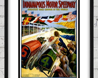 1909 Vintage Indianapolis 500 Racing Poster - Digital Reproduction - Print or Matted or Framed