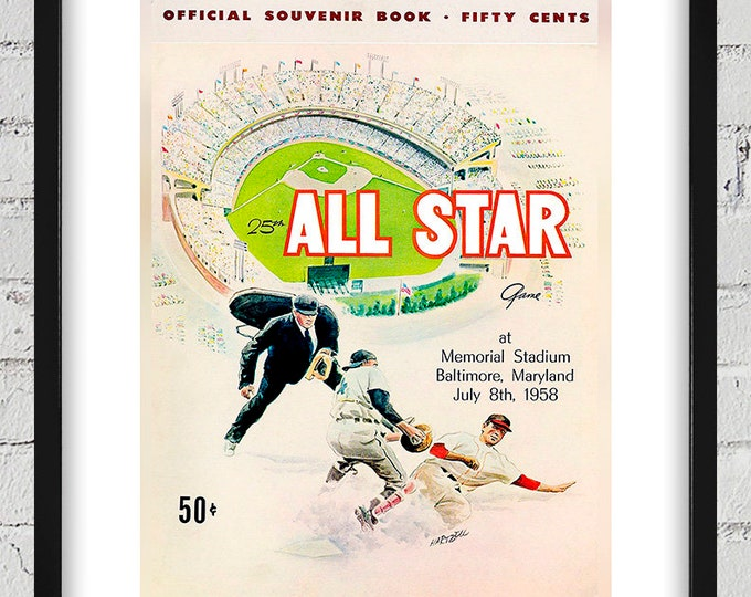 Featured listing image: 1958 Vintage Baseball All-Star Game Program Cover - Digital Reproduction - Print or Matted or Framed