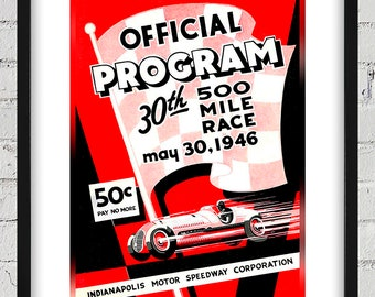 1946 Vintage Indianapolis 500 Racing Program Cover - Digital Reproduction - Print or Matted or Framed