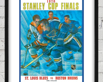1969-1970 Vintage St Louis Blues - Boston Bruins Program Cover - Stanley Cup - Digital Reproduction - Print or Matted or Framed