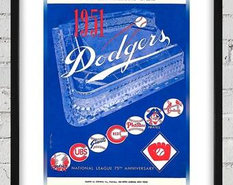 1951 Vintage Brooklyn Dodgers Baseball Program Cover - Digital Reproduction - Print or Matted or Framed