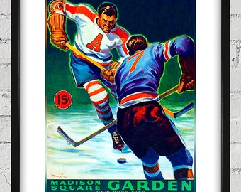1941-1942 Vintage Brooklyn Americans Hockey Program Cover -  Digital Reproduction - Print or Matted or Framed