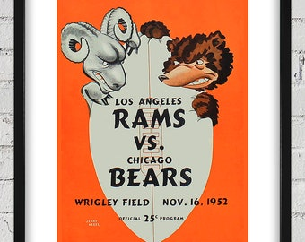 1952 Vintage Chicago Bears - Los Angeles Rams Football Program Cover - Digital Reproduction - Print or Matted or Framed