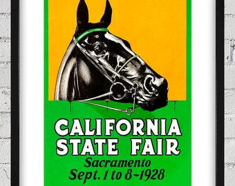 1928 Vintage California State Fair Poster - Digital Reproduction - Print or Matted or Framed