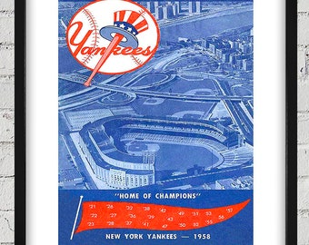 1958 Vintage New York Yankees Scorebook Cover - Digital Reproduction - Print or Matted or Framed