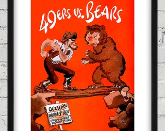 1955 Vintage Chicago Bears - San Francisco 49ers Football Program Cover - Wrigley Field - Digital Reproduction - Print or Matted or Framed