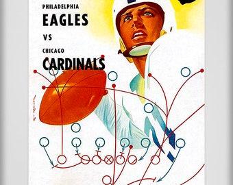 1954 Vintage Chicago Cardinals - Philadelphia Eagles Football Program - Digital Reproduction - Print or Matted or Framed