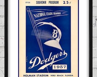 1957 Vintage Brooklyn Dodgers Spring Training Program Cover - Digital Reproduction - Print or Matted or Framed