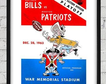 1963 Vintage Boston Patriots - Buffalo Bills Football Playoff Program - Digital Reproduction - Print or Matted or Framed