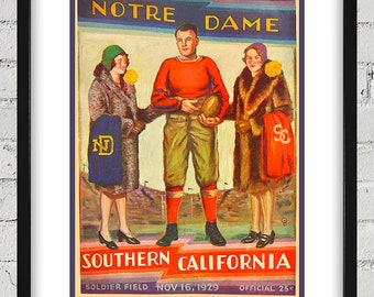 1929 Vintage Notre Dame - Southern California Football Program Cover - Digital Reproduction - Print or Matted or Framed