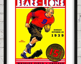 1939 Vintage Detroit Lions - Chicago Bears Football Program Cover - Digital Reproduction - Print or Matted or Framed