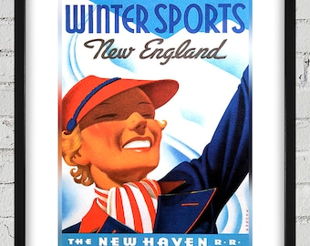 1937 Vintage New England Winter Sports Travel Poster - New Haven Railroad - Digital Reproduction - Print or Matted or Framed