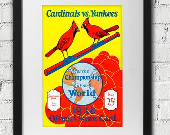 1928 Vintage St Louis Cardinals - New York Yankees - World Series Score Card Cover - Digital Reproduction - Print or Matted or Framed
