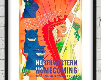 1933 Vintage Illinois Fighting Illini - Northwestern Wildcats Football Program Cover  - Digital Reproduction - Print or Matted or Framed