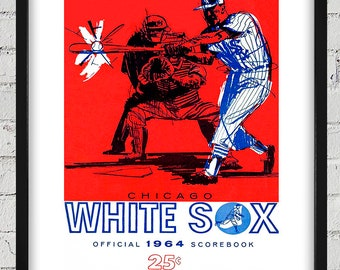 1964 Vintage Chicago White Sox ScoreCard Cover - Digital Reproduction - Print or Matted or Framed