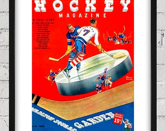 1938-1939 Vintage New York Americans Hockey Program - Digital Reproduction - Print or Matted or Framed
