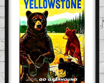 1960's Vintage Yellowstone Travel Poster - Greyhound - Digital Reproduction - Print or Matted or Framed