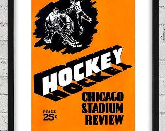 1949-1950 Vintage Chicago Blackhawks Hockey Program - Digital Reproduction - Print or Matted or Framed
