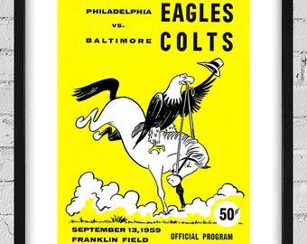 1959 Vintage Philadelphia Eagles - Baltimore Colts Football Program Cover - Digital Reproduction - Print or Matted or Framed