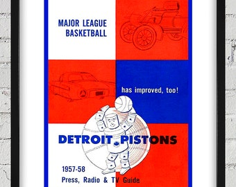 1957- 1958 Vintage Detroit Pistons Basketball Press Guide Cover - Digital Reproduction - Print or Matted or Framed