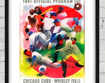 1947 Vintage Chicago Cubs Program Cover - Digital Reproduction - Print or Matted or Framed